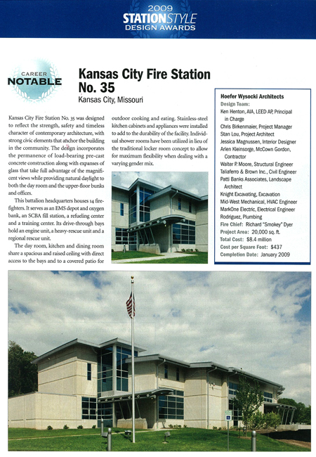 Kansas City Fire Station No. 35 receives Honorable Mention in the 2009 Station Style Design Awards